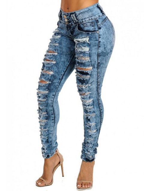 Wipalo Women  Sexy High Waist Pencil Ripped Denim Pants/Jeans