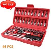 46 PCS Multifunctionele Automobiel Repareren Gereedschap Kit Auto Reparatie Tool Ratchet Momentsleutel Combo Gereedschap Kit Auto Reparatie Set op