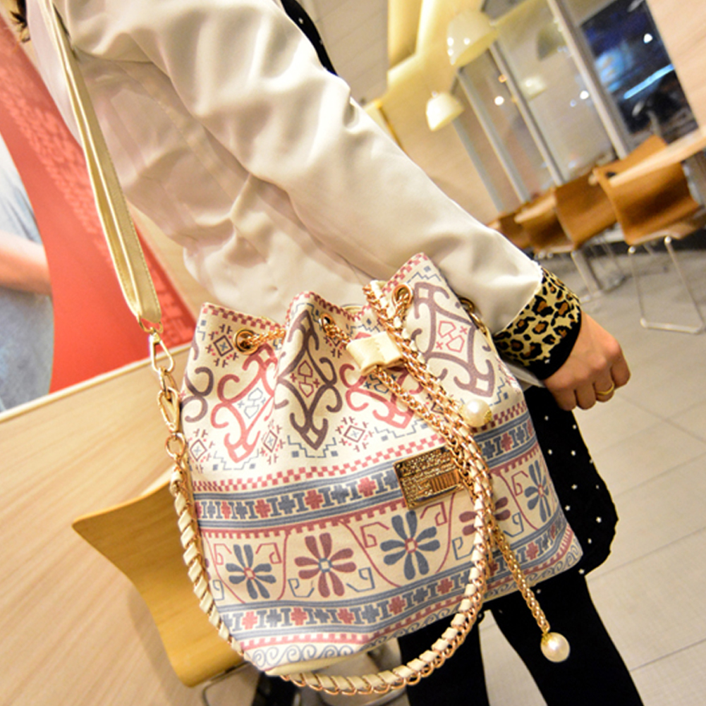 1Pc Canvas Drawstring Bucket Bag Shoulder Handbags Faux Pearl Letter Bucket Tote Shoulder Crossbody Bag