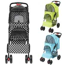 3 Colors Pet Stroller Sitting Lying Foldable Lightweight Pushchair Stroller Cart