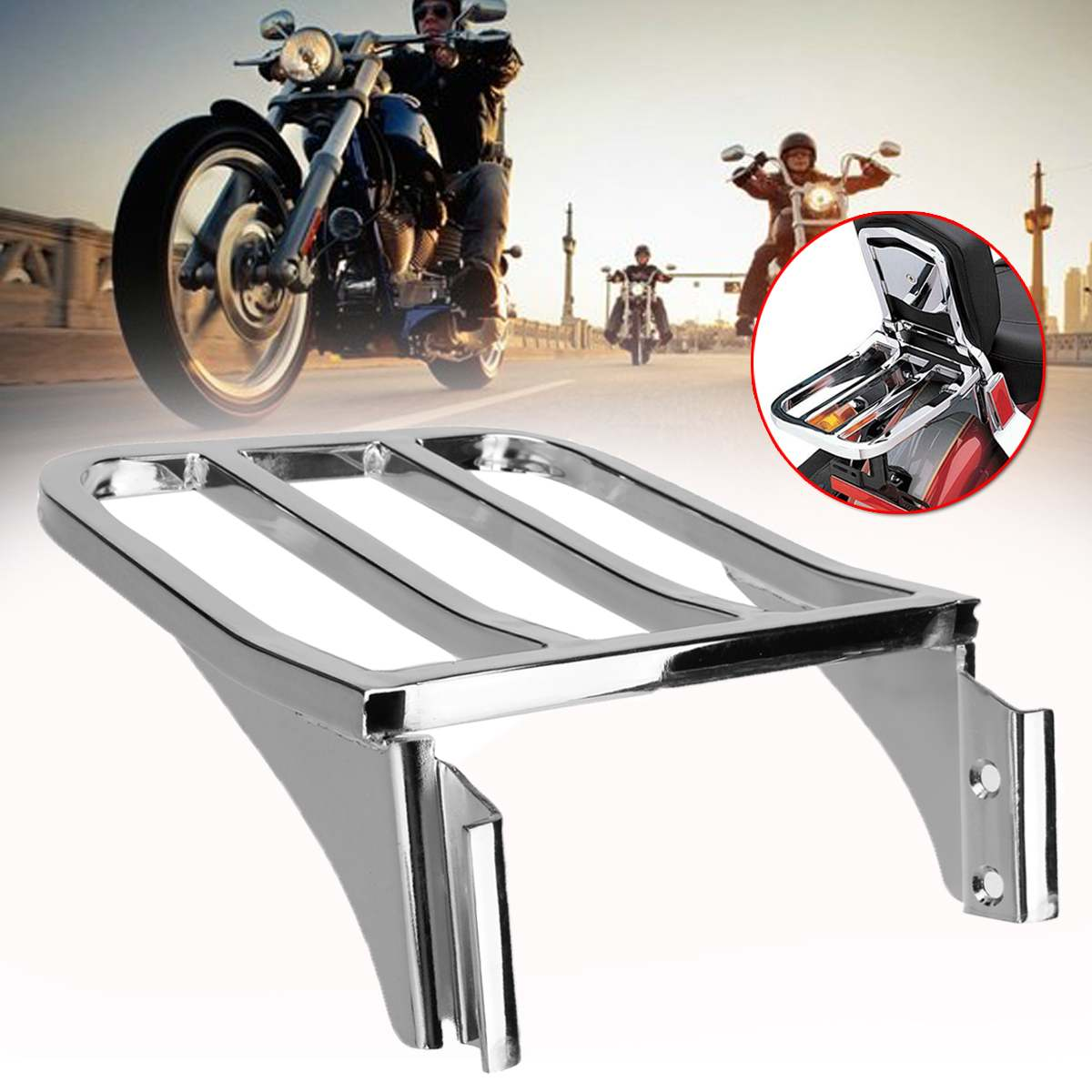 Porte-bagages arrière de moto pour Harley Sportster XL1200 883 72 48 porte-bagages Dyna Chrome Solo
