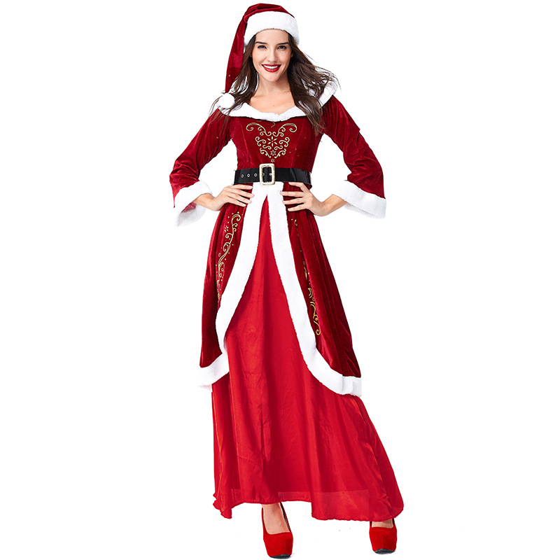M,L,XL 2018 newly hot drop shipping  Women Santa Claus Mascot Costume Suit Christmas Fancy Dress Ladies Adults Size
