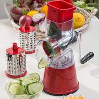 Multi function Food Slicer Manual Hand Speedy Safe Vegetables Chopper Cutter with 3 Cylindrical Stainless Steel Blades