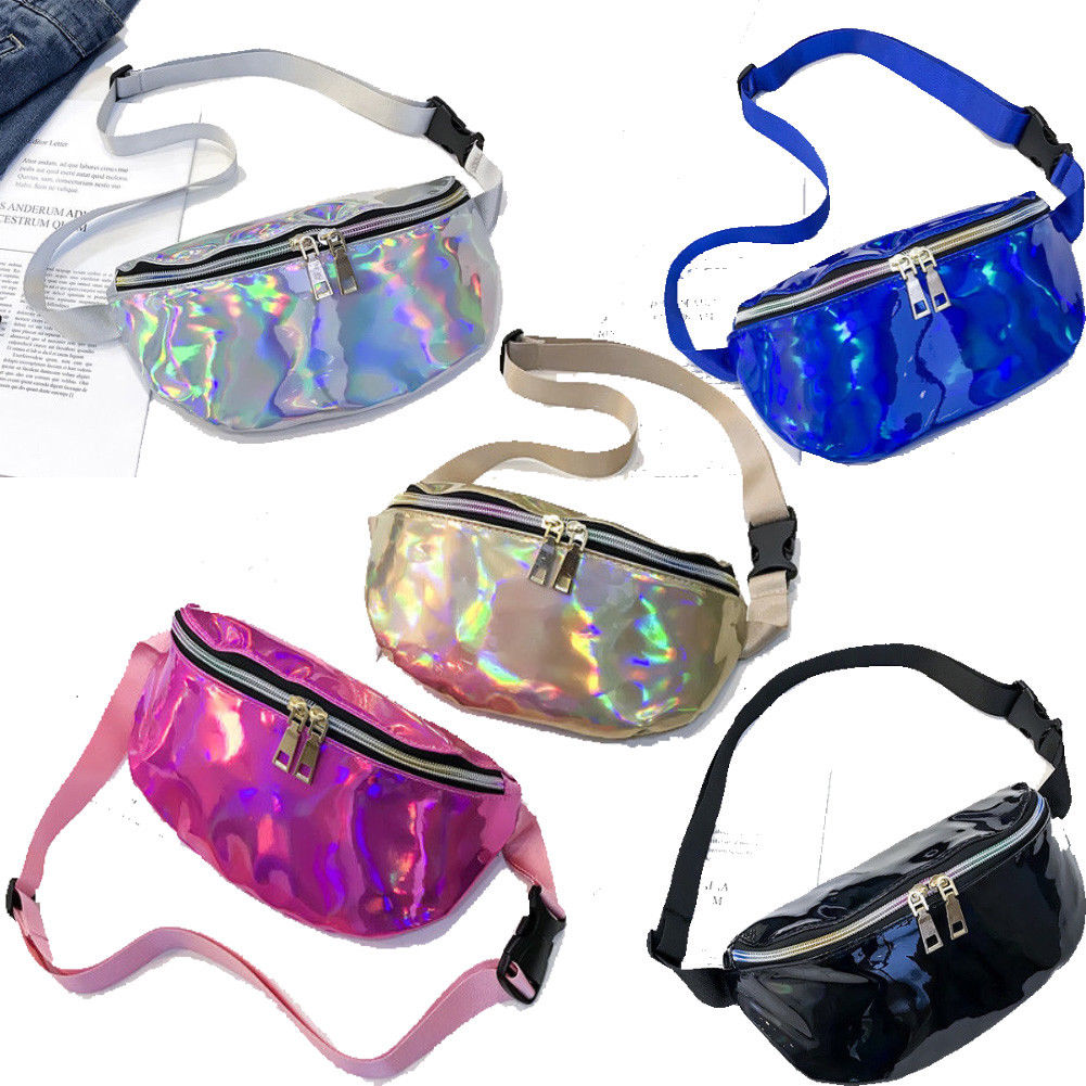 2019 Hot Bling Waist Pack Punk Lady Girl Rainbow PU Laser Transparent Fanny Pack Women Bum Bag Belt Bag Silver Black Gold