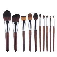 10 Pack Horse Hair Wooden Makeup Brushes Set Multifunctional Make Pen For Facial Contours Foundation Blush Shadow Eyebrows