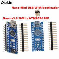 10 pcs NANO 3.0 controlador compatible con arduino NANO CH340 turno USB controlador ninguna CABLE V3.0 NANO for Arduino