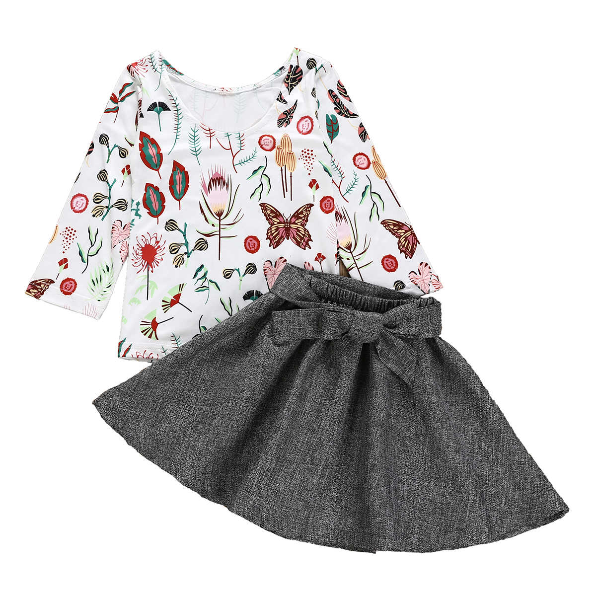 0475a21575871 Cute Flower Kid Baby Girl Clothing Set Children's Clothes Party Outfits  Long Sleeve T-shirt