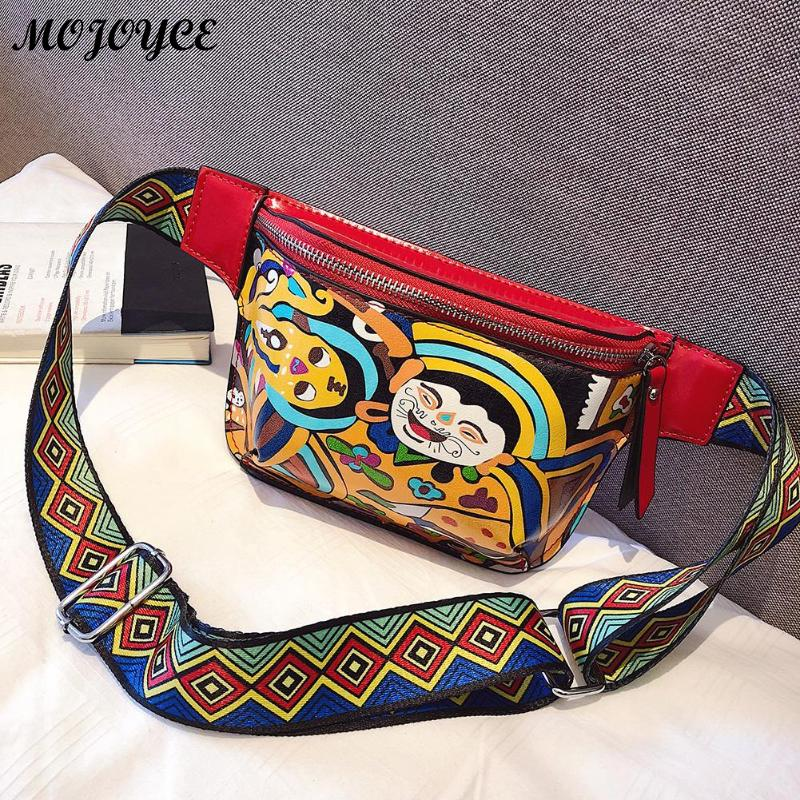 Ethnic Cute Fanny Pack Waist Bag For Women Personality Belt Bags PU Leather Graffiti Chest Handbag Colorful Shoulder Belt Bolsas