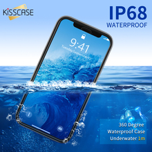Kisscase caso de telefone à prova dwaterproof água para iphone 6 s 7 8 plus se 5 à prova d água natação mergulho coque capa para iphone x xr xs max caso