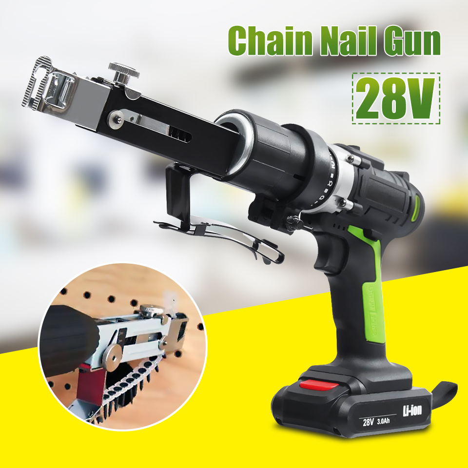 28V Automatic Chain Nail Guns Screw Guns Collated Screw Guns for Electric Drill Woodworking Tool Cordless Power Drill