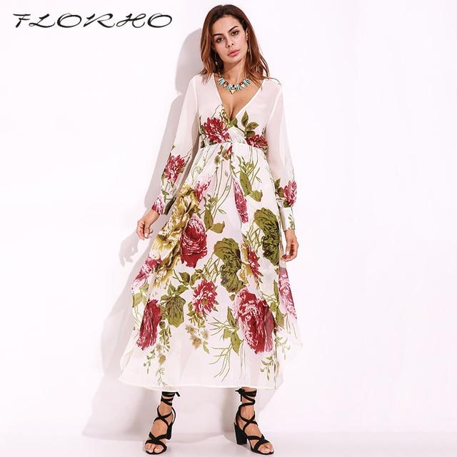 a34751fc83f0 Hawaiian Beach Dress Women Floral Dress Chiffon Maxi Long Dress Nepal Sexy Long  Sleeve Boho Shift Sundress Vestidos 5XL Femina
