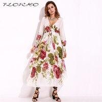 5b578e4ba43 Hawaiian Beach Dress Women Floral Dress Chiffon Maxi Long Dress Nepal Sexy  Long Sleeve Shift Sundress