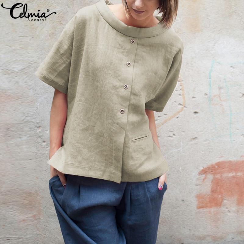 Celmia plus size verão 2019 blusas de linho do vintage das mulheres botões camisas de manga curta retalhos casuais soltas blusas femininas