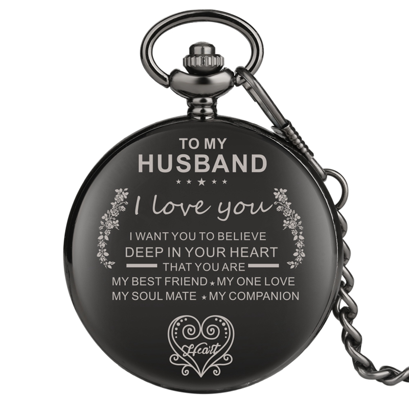 Customized Quartz Pocket Watch TO MY Husband I LOVE YOU Chain Clock Anniversary Gifts To My Soulmate Best Friend Unique Watches