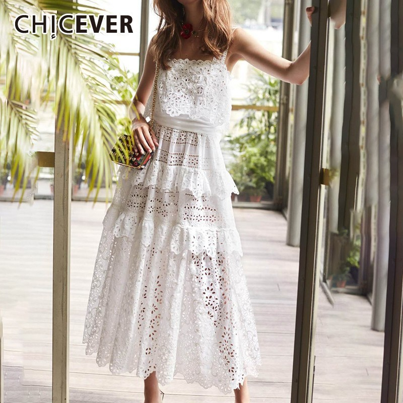 CHICEVER Casual Off Shoulder Women Dress Strap Lace Patchwork Hollow Out High Waist Midi Dresses Female Summer Fashion 2020 New