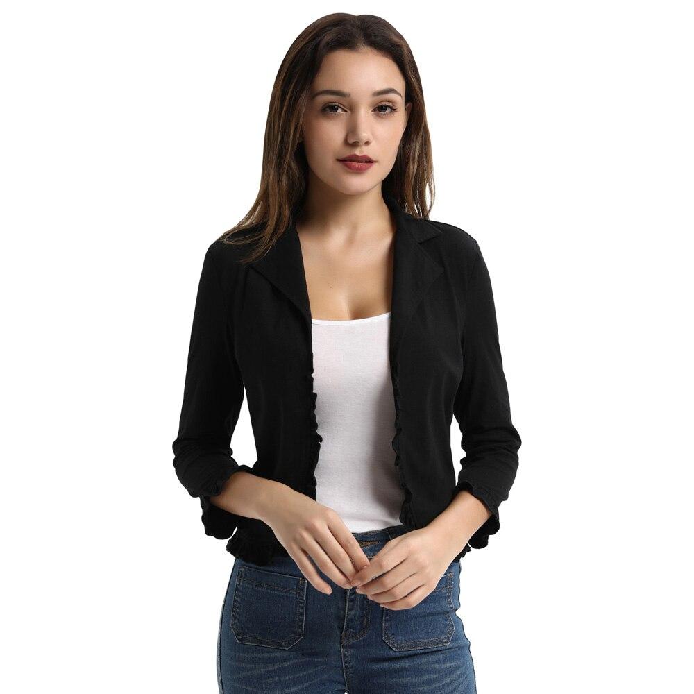 Gk Women's Coat Casual Lapel Collar Open Front Ruffled Cotton Shrug Bolero Coat Fashion Lightweight  Women Coats