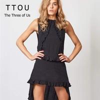 9a2bf0b80 TTOU Fashion Ruffle Irregular Summer Women Dress Ladies Boho Solid  Sleveless O Neck Casual Dress Cotton