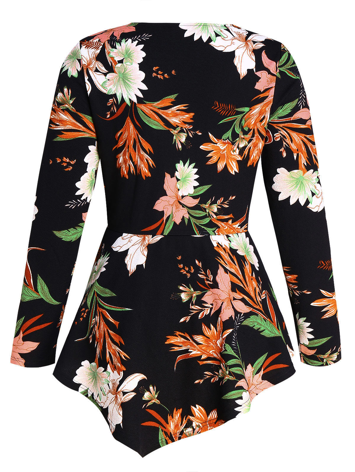Witspace Womens V Neck Holiday Floral Print Blouse Ladies Short Sleeve Tops Black