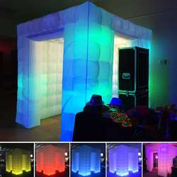 3m Inflatable Air Photo Booth Professional Inflatable LED Photo Booth Tent Black Double Door Remote Control photobooth led