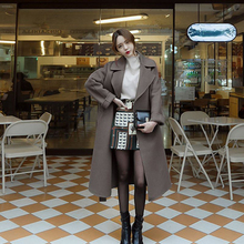 Fashion Wool Blend Coat Women Long Thicken Turn-down Collar
