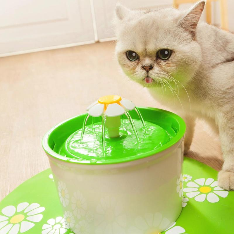 Flower Automatic Electronic Pet Cat Dog Water Drinking Fountain Bowl Filter 1.6l Dishes, Feeders & Fountains