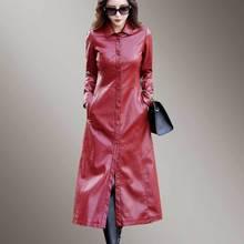 Red Long Windbreaker 5XL Parka Women PU Leather Jacket Overcoat 2018 New Autumn Fashion Faux Sheepskin Female Coat PJ328