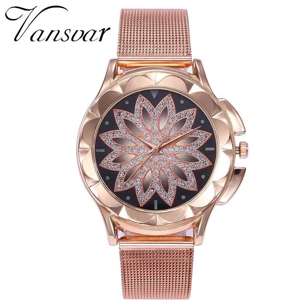 Hot Fashion Women Flower Rhinestone Wrist Watch Luxury Casual Rose Gold Steel Quartz Watch Relogio Feminino Drop Shipping  2