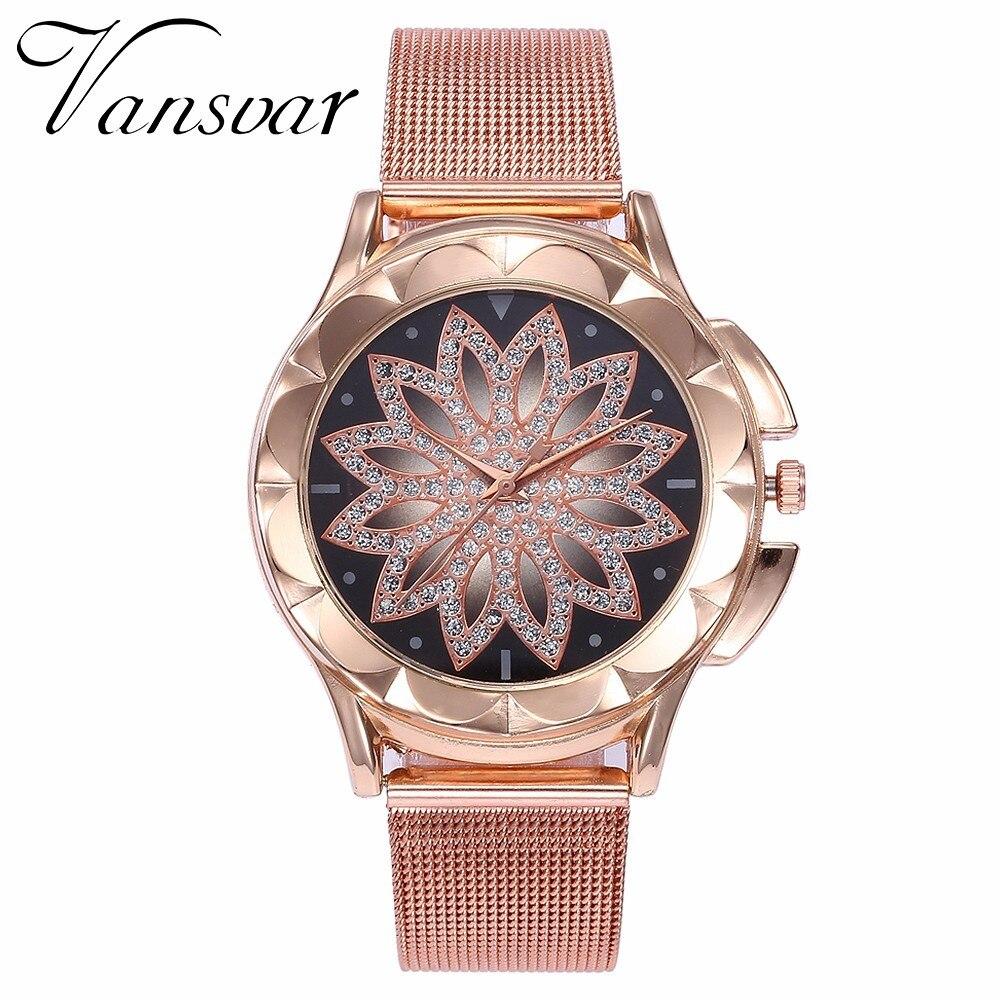 Hot Fashion Women Flower Rhinestone Wrist Watch Luxury Casual Rose Gold Steel Quartz Watch Relogio Feminino Drop Shipping  2