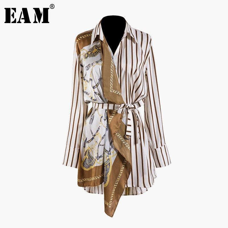 [EAM] 2019 New Autumn Winter Lapel Long Sleeve Striped Pattern Split Joint Irregular Big Size Shirt Women Blouse Fashion JQ490