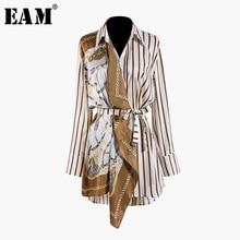 купить [EAM] 2019 New Autumn Winter Lapel Long Sleeve Striped Pattern Split Joint Irregular Big Size Shirt Women Blouse Fashion JQ490 дешево