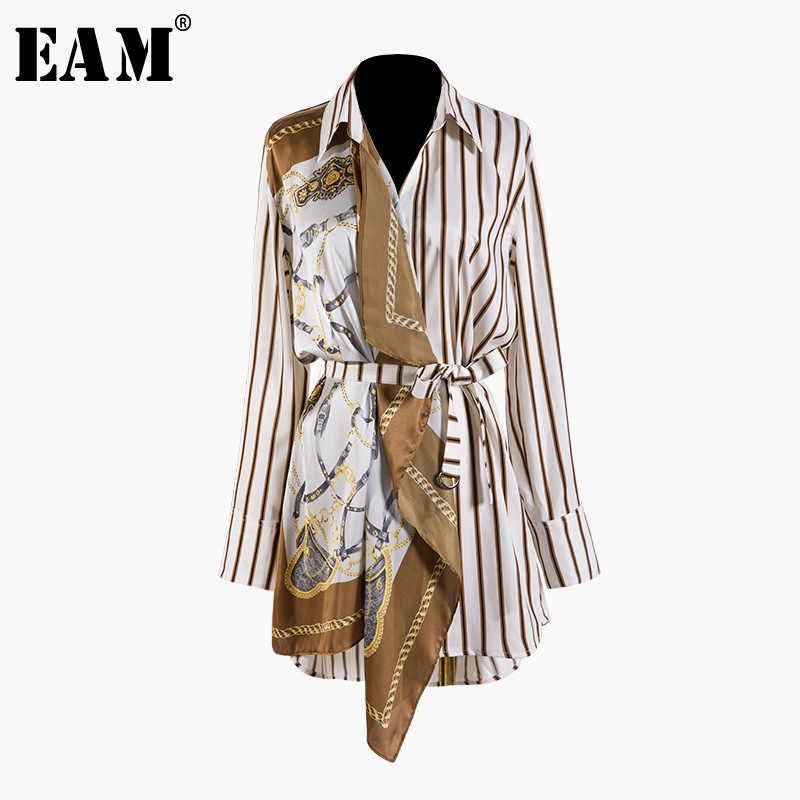 [EAM] Новинка 2019, осенне-зимняя рубашка с отворотом, длинным рукавом, в полоску, с разрезом, необычная, большой размер, женская блузка, модная, JQ490