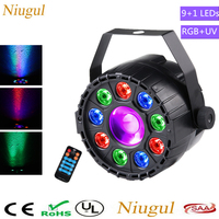 With IR Wireless Control Mini 9+1 LED Par Light /RGB+UV Effect Par Light Bar KTV Stage Decoration Lighting Festival Party Lights