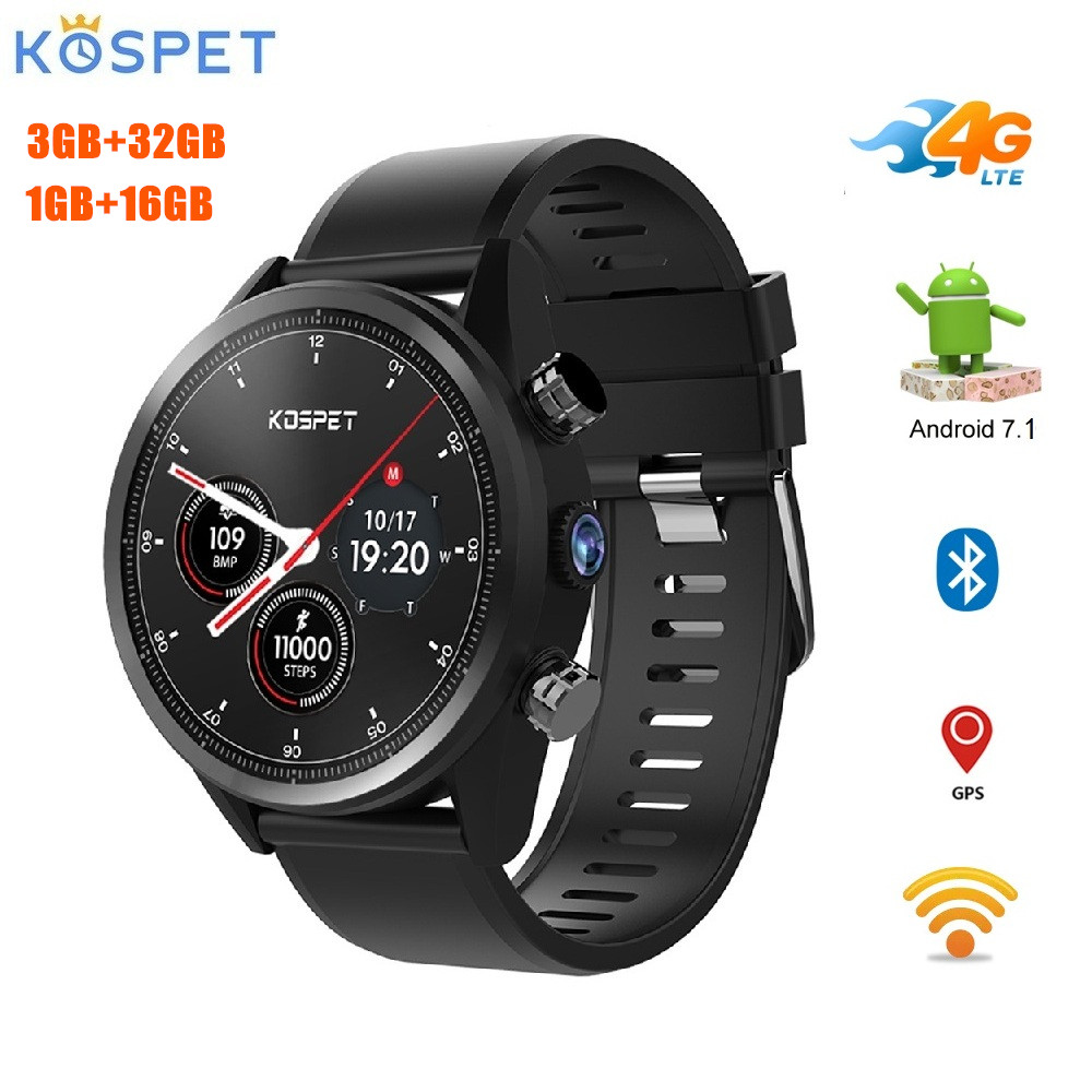Kospet Hope 4G Smartwatch 1.39 inch Android 7.1 MTK6739 Quad Core 3GB+32GB 1GB+16GB ROM Phone Watch 8.0MP 620mAh IP67 Waterproof