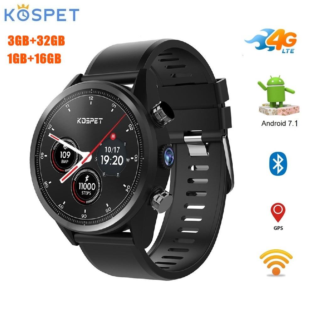 Kospet Hope 4G Smartwatch 1.39 pouces Android 7.1 MTK6739 Quad Core 3GB + 32GB 1GB + 16GB ROM téléphone montre 8.0MP 620mAh IP67 étanche