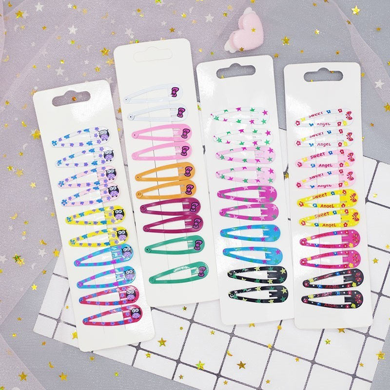 10 PCS Cartoon Beatles Metal Printing Colour Animal Baby BB Clips Girls Hairpins Hair Clip Kids   Headwear   Children Accessories