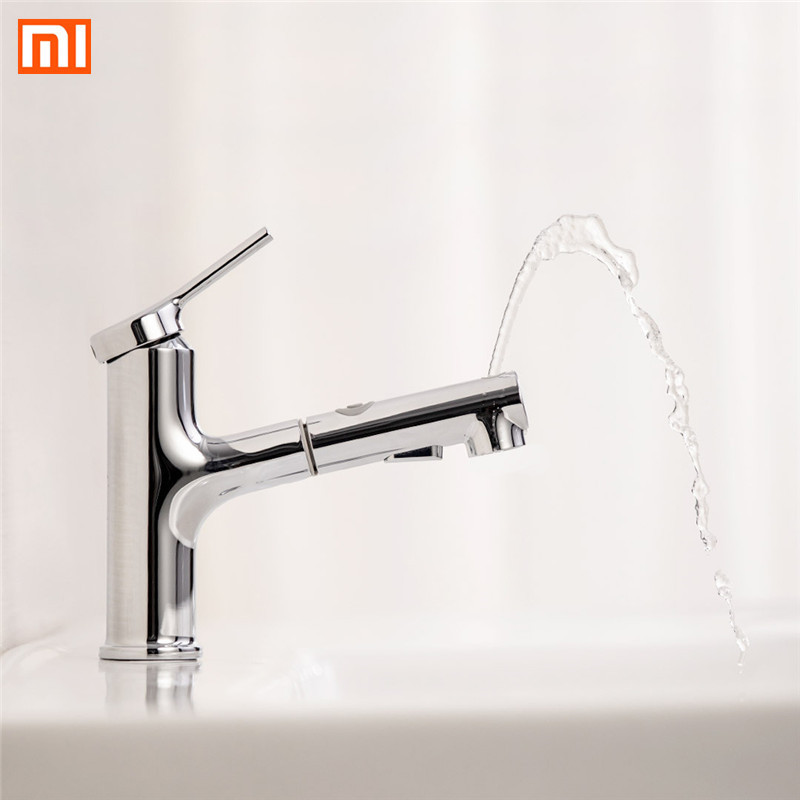 Xiaomi Dabai Bathroom Basin Sink Faucet W/ Pull Out Rinser Gargle Brushing Cold & Hot Wall Faucet Kitchen Bathroom Basin Faucet