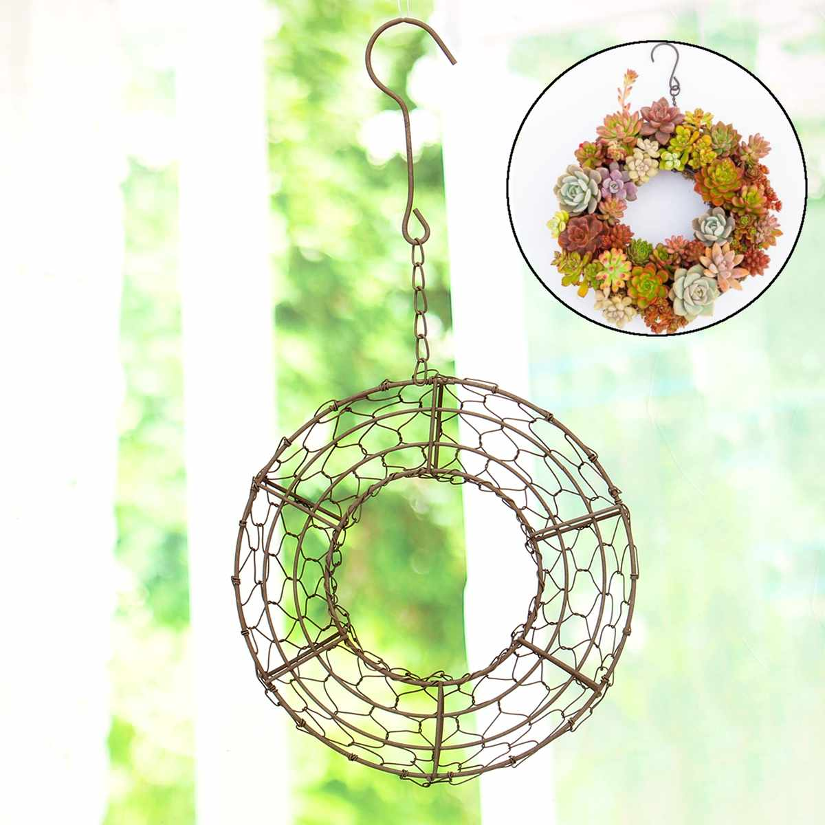 Modest Round Iron Hanging Planter Pot Flowerpot Wire Wreath For Succulent Plant Decor Creativ Wall Hanging Holder Plant Pots Wreath Pure White And Translucent Garden Pots & Planters Home & Garden
