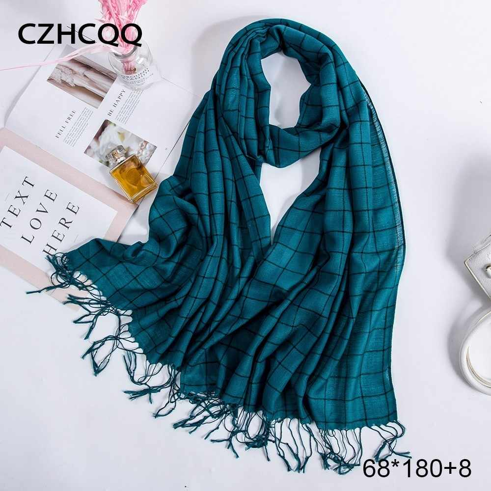 Long Cotton Scarf Women Shawls Men Spring Foulard Femme Male Blanket Plaid Hijab Chiffon Stole Women Scarves For Ladies 2019
