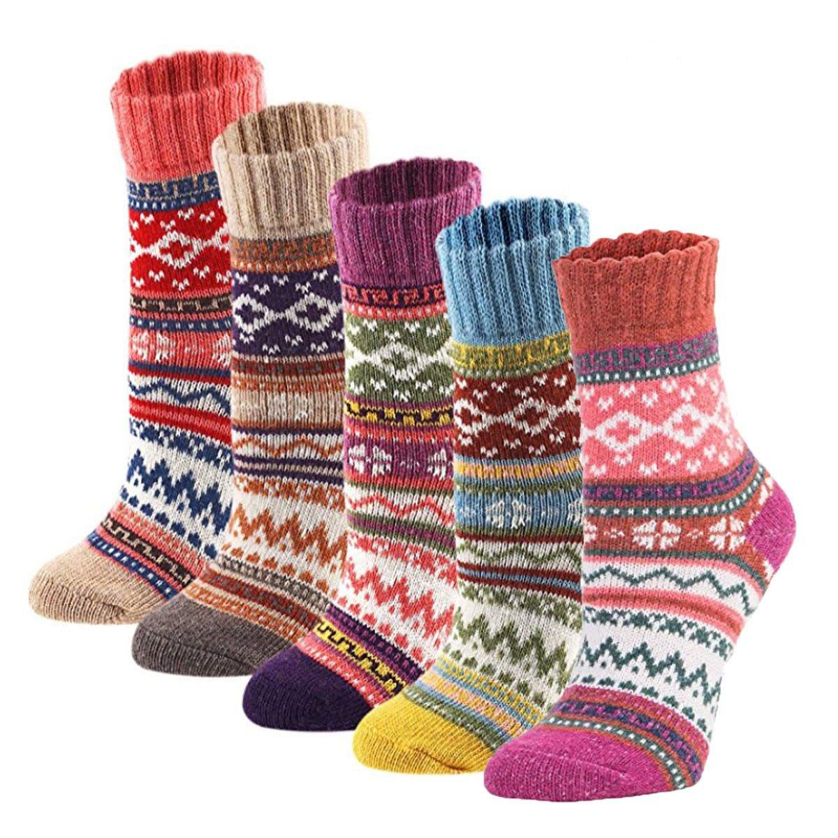5pairs Women Vintage Winter Soft Warm Thick Cold Knit Crew Socks, Multicolor, free size