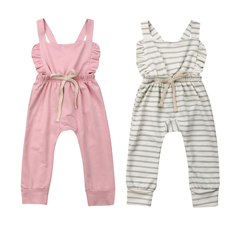 0-3Y Lovely Newborn Toddler Kids Baby Girl Sleeveless Back Cross Loose   Romper   Jumpsuit One Pieces Outfits Summer Clothes
