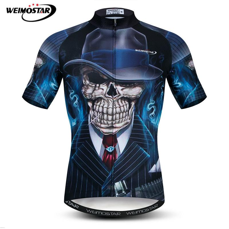 Weimostar 3D Pringting Skull Cycling Jersey Summer MTB Bike Jersey Shirt Men Breathable Bicycle Wear Clothes Maillot Ciclismo