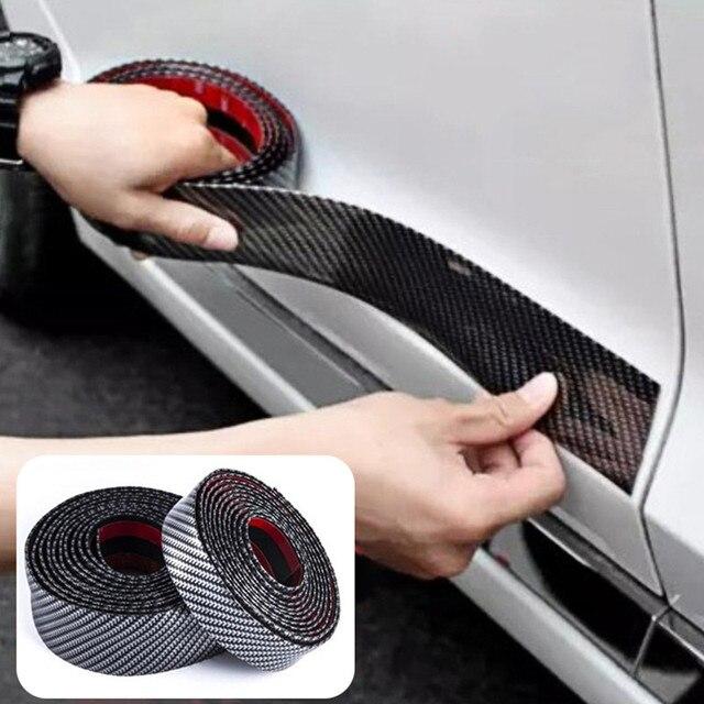 Hiyork Carbon Fiber Rubber Mouldings Strip Soft Black Trim Bumper DIY Door Sill Protector Edge Guard Car Stickers Car Styling 1M