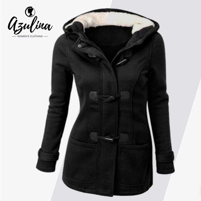 1bc6f41fa541 AZULINA Plus Size Women Coat Duffle Hooded Pocket Toggle Coats Fleeve Jacket  Casual Tops Outerwear Big Size 5XL Ladies Clothes