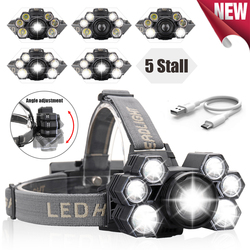 Headlight 60000lm USB Rechargeable Headlamp 3*T6+4*Q5 LED Head Lamp Zoom Fishing Flashlight Torch Head Light 18650 Battery