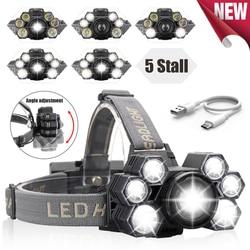 Headlight 60000lm USB Rechargeable Headlamp 3*T6+4*Q5 LED Head Lamp Zoom Fishing Flashlight Torch Head Light 18650 Battery