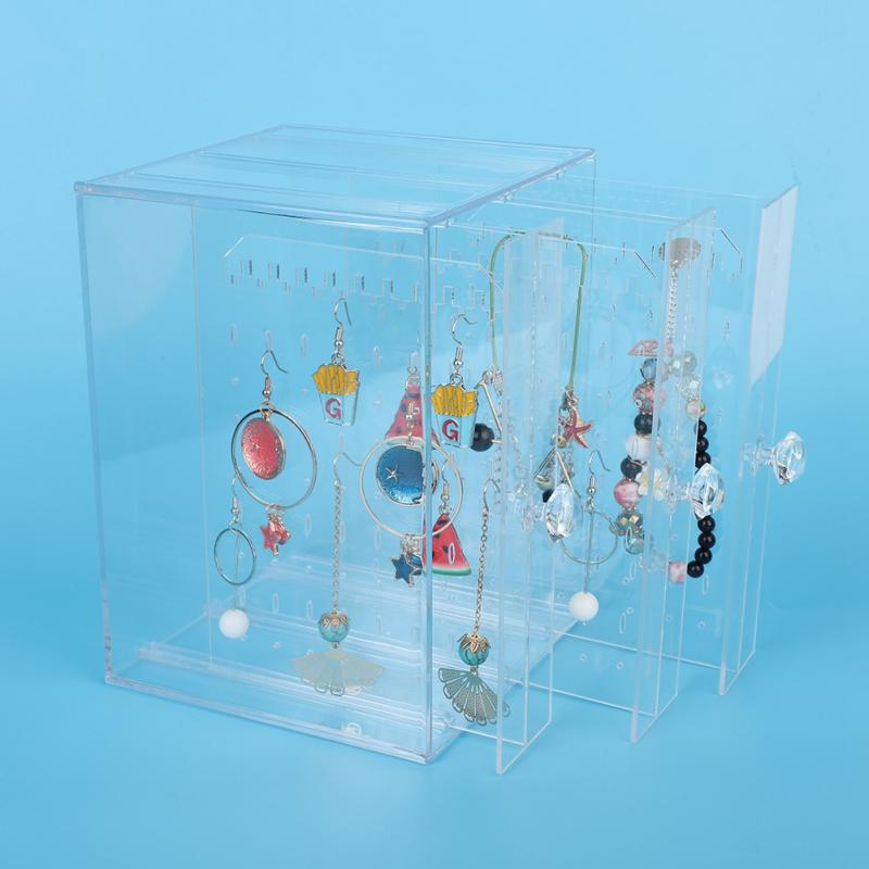 New Fashion Acrylic Jewelry Display Holds Up Earrings Ear Stud Holder Transparent Jewelry Organizer Earring Showcase Stand Box(China)