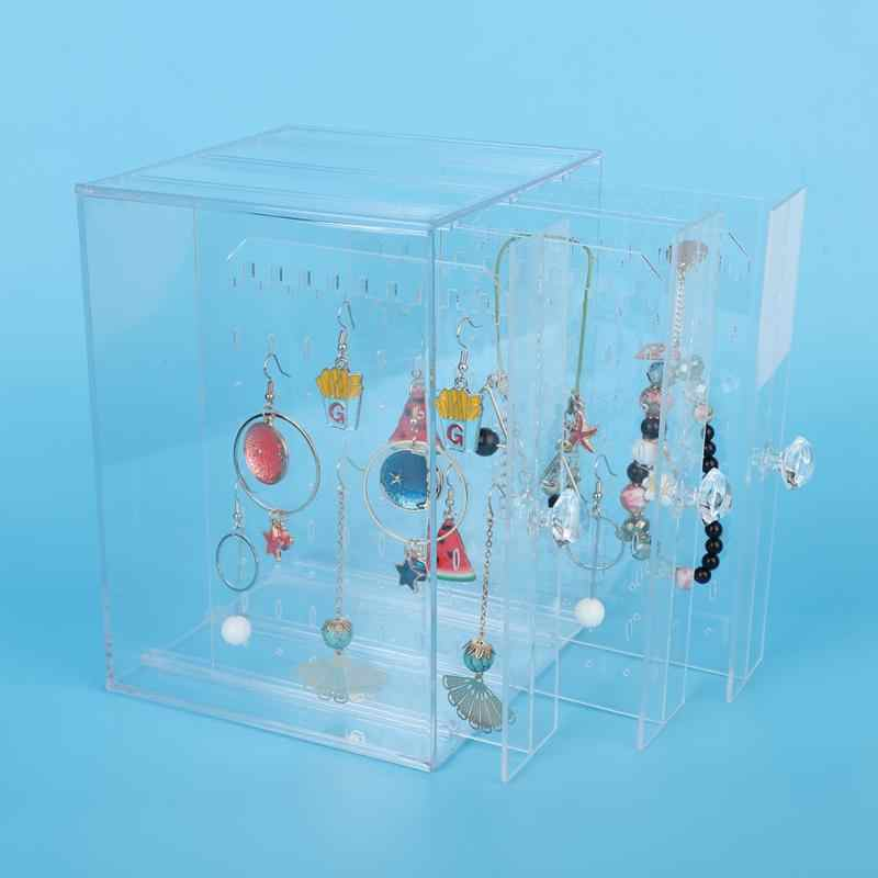 New Fashion Acrylic Jewelry Display Holds Up Earrings Ear Stud Holder Transparent Jewelry Organizer Earring Showcase Stand Box