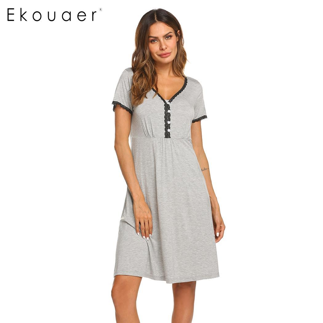 Ekouaer   Nightgown   Chemise   Sleepshirts   Women Nightwear Women Floral Lace V -Neck Short Sleeve Rayon Night Dress Sleepwear