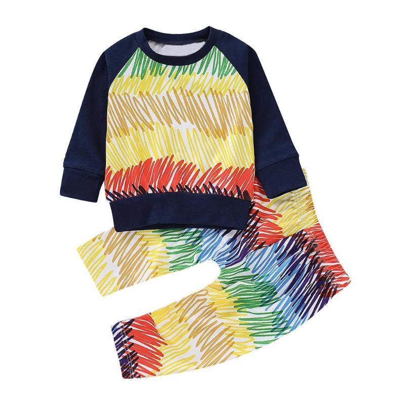 2pcs Set Multicolor Print Pattern Long Sleeve Pullover Sweatshirt Trousers Baby Kids Boy Girl Casual Clothes PNLO