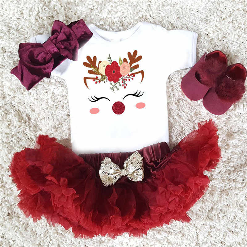 0-24M Christmas Kids Clothing Newborn Baby Girl Unicorn Party Xmas Outfits Cotton Short sleeve top skirt Cute Princess Dress set